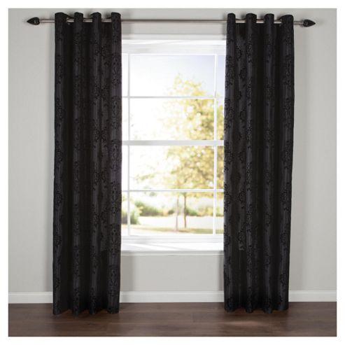 Flock Damask Lined Eyelet Curtains W112xL137cm (44x54