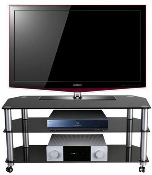 STUK 1402 Black Glass TV Stand with Castors