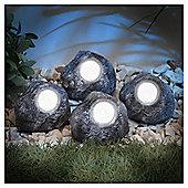 Set of 4 Solar Rock Garden LED Lights, Pack of 4