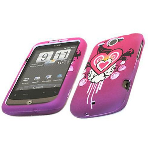 Pink Black HEART SnapGuard Protection Case - HTC WildFire G8 (CH-0745)