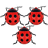 Set of Three Large Wall Mountable Red Ladybird Garden Ornaments