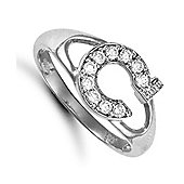 Silver Cubic Zirconia Identity ID Initial Signet Ring Letter C