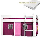 Kids World Midsleeper with Purple Tent/Memory foam mattress