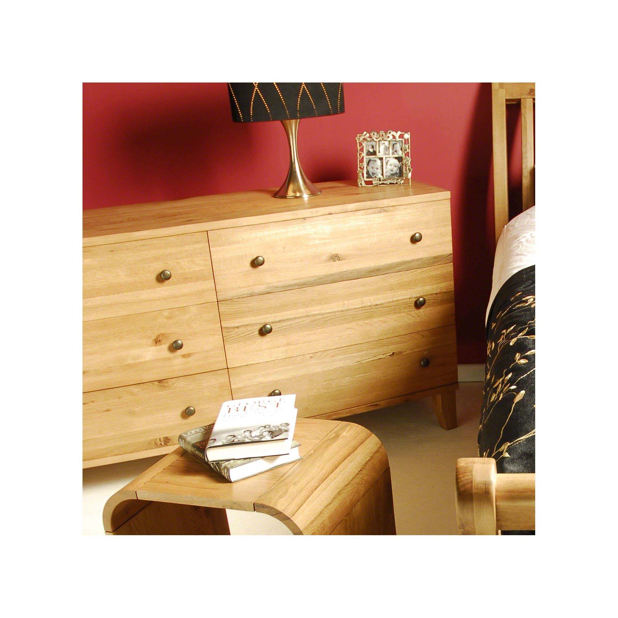 Oceans Apart Cordoba Walnut Wide Seven Drawer Chest - Oak at Tesco Direct