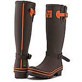 Evercreatures Ladies Wellies Brown With Terracotta Edging 4