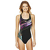 Speedo Endurance®+ Graphic Sketch Print Muscle Back Swimsuit - Black