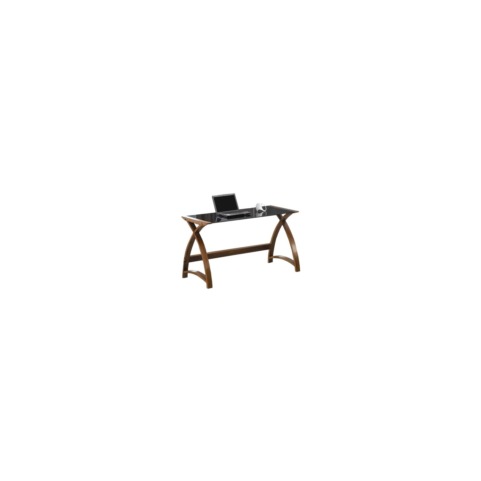 Jual Curve - Curved Walnut and Black Glass Laptop Desk at Tesco Direct