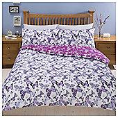 Butterfly Print Duvet Set , - Purple
