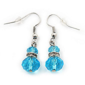 Small Light Blue Glass Bead Drop Earrings In Silver Plating - 3.5cm Length
