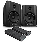 M-Audio BX5 Powered Studio Monitors - Pair Including Monitor Isolation Pads And JB's Jack Leads