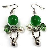Green Bead Drop Earrings (Silver Tone)