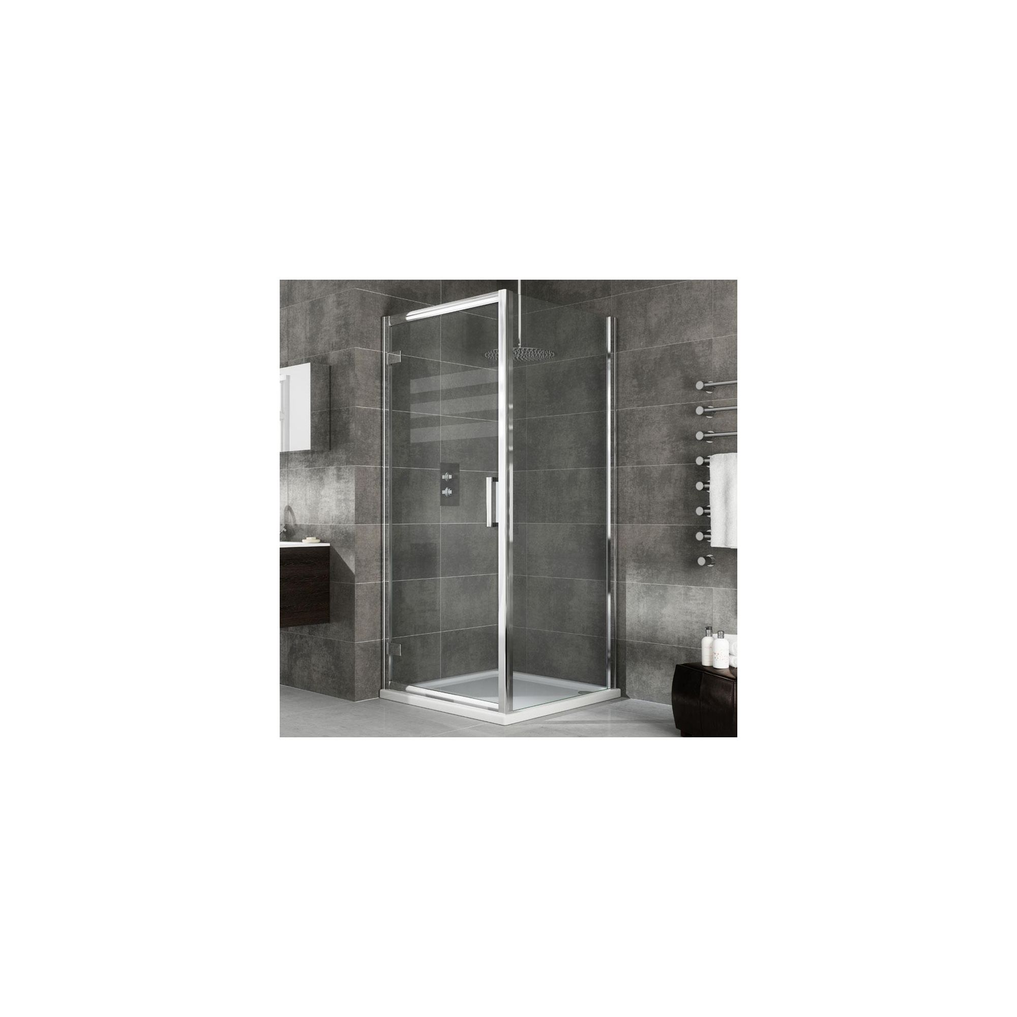 Elemis Eternity Hinged Door Shower Enclosure, 1000mm x 1000mm, 8mm Glass, Low Profile Tray at Tesco Direct