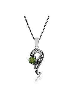 Gemondo 925 Sterling Silver 0.53ct Peridot & Marcasite Art Nouveau Necklace