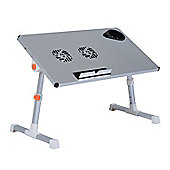 Homcom Portable Folding Laptop Computer Desk Tray Tilt Aluminum w/ Cooling Fan (Silver)