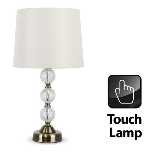 Buy Crackle Glass Ball Touch Table Lamp In Antique Brass