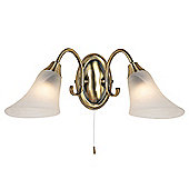 Endon Lighting Alabaster Wall Light in Antique Brass