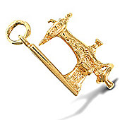 Jewelco London 9ct Solid Gold casted Sewing Machine design Pendant