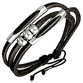 Urban Male Surf Style Black Leather Multi Strand Bracelet