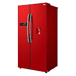Russell Hobbs RH90FF176R-WD, American Style Freestanding Fridge Freezer with Water Dispenser, 90cm Wide, Red