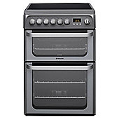 Hotpoint HUE61GS, Graphite, Electric Cooker, Double Oven, 60cm