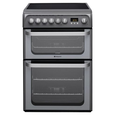 Hotpoint HUE61GS Graphite Electric Cooker, Double Oven