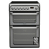 Hotpoint HUE61GS, Ultima, Freestanding, Electric Cooker, 60cm, Graphite, Twin Cavity, Double Oven