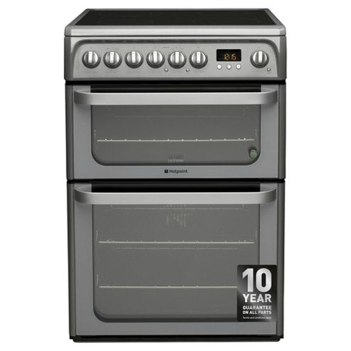 Hotpoint Ultima Electric Cooker with Electric Grill and Ceramic Hob, HUE61G S - Graphite
