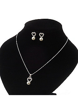 Delicate Faux Pearl Diamante 'Heart' Pendant Necklace & Stud Earrings Set In Silver Plating