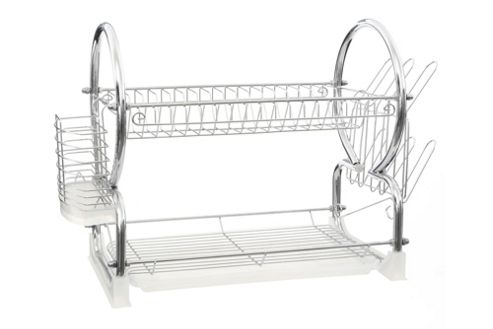 Premier Housewares 56 cm 2 Tier Dish Drainer with Tray - White