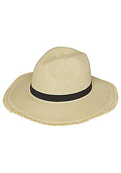F&F Raw Edge Straw Fedora - Natural