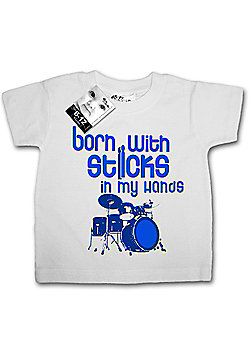 Dirty Fingers Born with Sticks in my hands Baby T-shirt - White