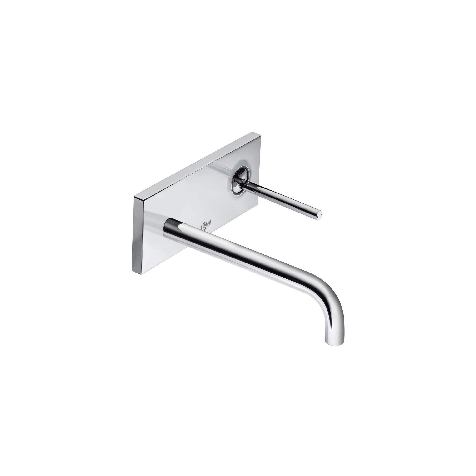 Ideal Standard Simply U 2 Tap Hole Wall-Mounted Cylindrical Spout Basin Mixer Tap with Rectangular Backplate at Tesco Direct