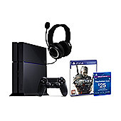 """PS4 Black Console, The Witcher 3, £25 PSN Card and GP3 Headset"""
