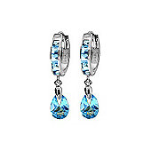 QP Jewellers 4.30ct Blue Topaz Hoop Earrings in Sterling Silver