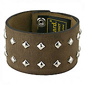 Men's Studded Real Leather Distressed Brown Cuff Bracelet 40mm