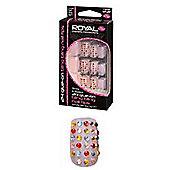 Royal 24 Glue-On Bling Bling Diamante Nail Tips -Nude