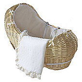 Isabella Alicia Natural Izzy-Pod Moses Basket (Broderie Anglais Cream)