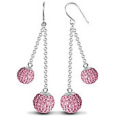 Jewelco London Sterling Silver Crystal 8mm & 10mm Double Disco Drops Shamballa Earrings - Pink