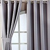 "Homescapes Grey Herringbone Chevron Blackout Curtains Pair Eyelet Style, 66x90"""