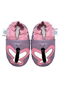 Dotty Fish Soft Leather Baby Shoe - Lilac and Pink Butterfly - Purple