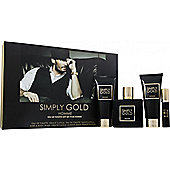 Simply Gold Homme Gift Set 100ml EDT + 100ml Aftershave Balm + 100ml Hair & Body Wash + 15ml Purse Spray