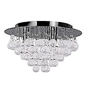 Small Nakita Flush Ceiling Light in Black Chrome