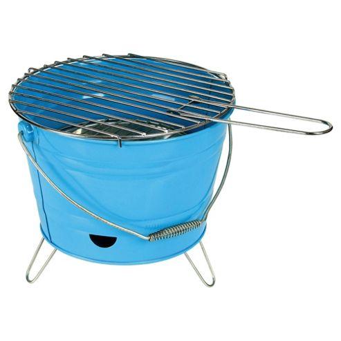Tesco Small Charcoal Bucket BBQ, Blue