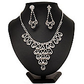 Bridal Swarovski Crystal Bib Necklace And Drop Earring Set In Rhodium Plated Metal