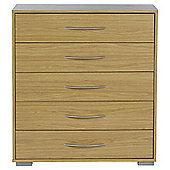 Newport 5 Drawer Chest Oak