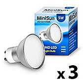 Pack of Three MiniSun 5W SMD LED GU10 Light Bulbs Warm White