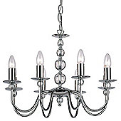 Endon Lighting Candle Eight Light Chandelier in Polished Chrome