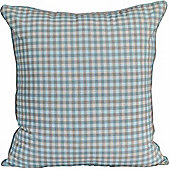 Homescapes Cotton Gingham Check Blue Scatter Cushion, 45 x 45 cm