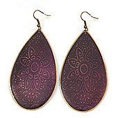 Long Purple Enamel Teardrop Earrings In Bronze Metal - 9.5cm Length