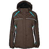 North Star Womens Ski Snowboarding Skiing Hooded Insulated Padded Jacket - Brown